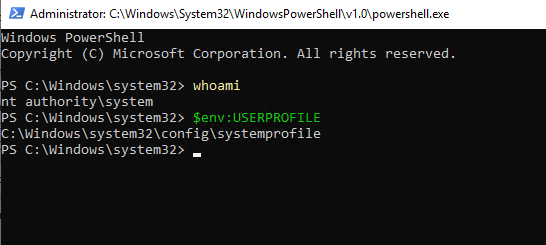 PowerShell running as SYSTEM